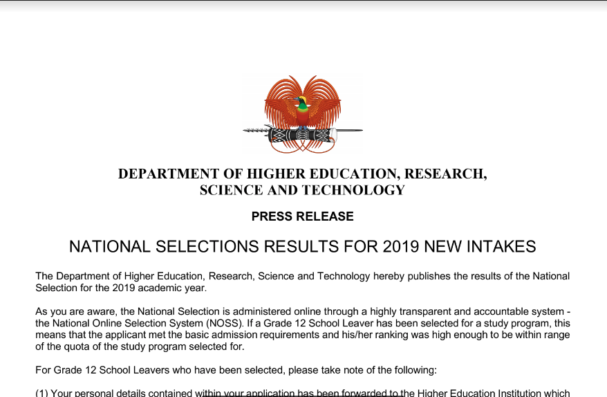National Selections Results For 2019 New Intakes